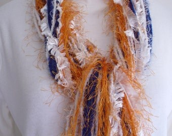 String Scarf ,  Orange Navy White ,  Womens Accessory  Ring String Scarf