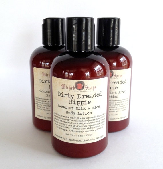 Dirty Dreaded Hippie Body Lotion - Coconut Milk and Aloe Body Lotion with Cocoa Butter and Pumpkin Seed Oil -Vegan Friendly