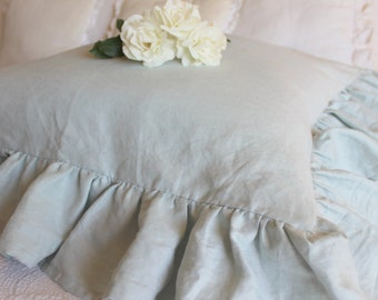 Perfectly Shabby Chic Ruffled Euro Sham in French Blue