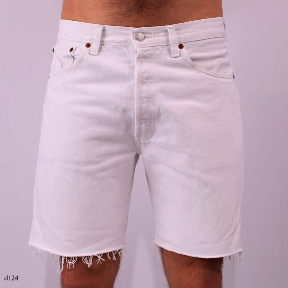 White Levis 501 Shorts . Mens Denim White Frayed Distressed