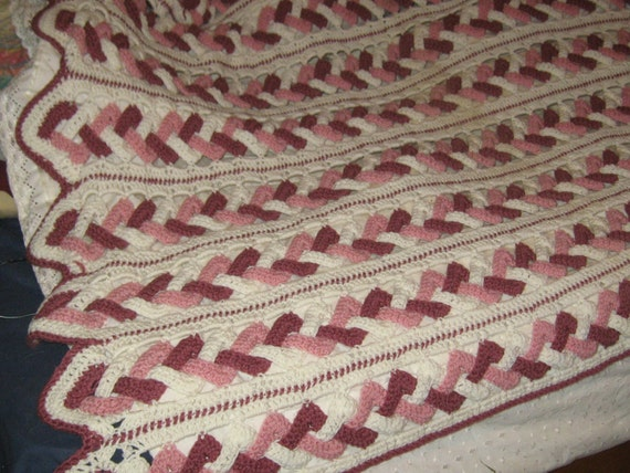 Items Similar To Vintage Hand Crochet Criss Cross Stitch Large Afghan Bedspread Twin Size On Etsy