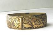 Antique Brass Wedding Bracelet Intricate Wide Victorian Era