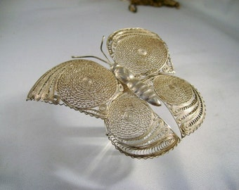 Sterling Silver BUTTERFLY Large Broach Pin