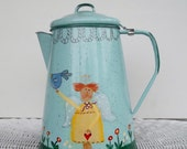 Price reduced 50 %  Upcycled Handpainted  Vintage Coffee Pot Planter/Vase