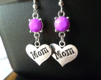 Mother's Day Earrings Dangle Heart Lavender Purple Pink Beads Silver Ready to Ship