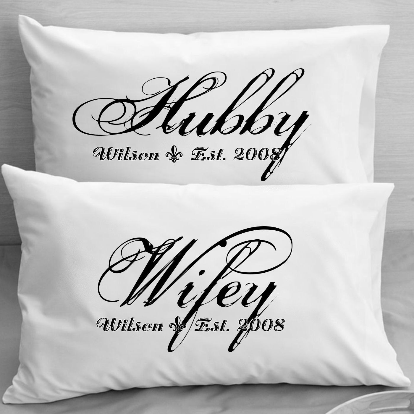 Unique Gifts For Husband On Wedding Day: Couples Pillow Cases Custom Personalized Wifey Hubby Wife