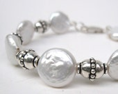 White coin pearl bracelet with sterling silver, White pearl bracelet