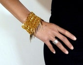 Gold Chainmaille Spiked Cuff Bracelet