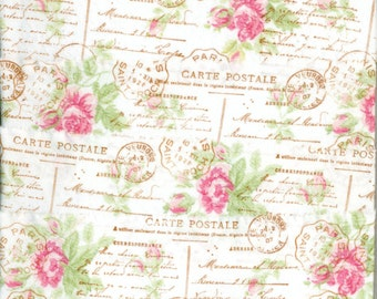 FRENCH POSTAL pink rose shabby trim french vintage chic hand stamped Muslin c781