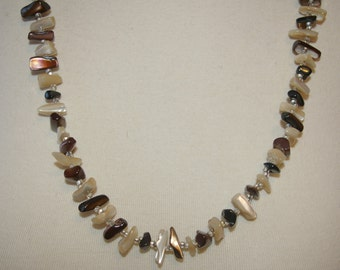 Brown and White Sea Shell Necklace Long Length  Vintage 1970's 1980's