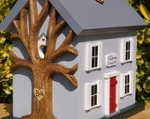 Card Box for Wedding Birdhouse with Heart Carved Tree