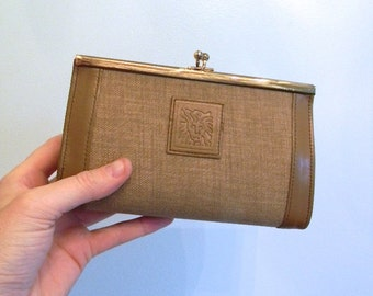 vintage.  60s 70s Anne Klein Structured Taupe Makeup Case