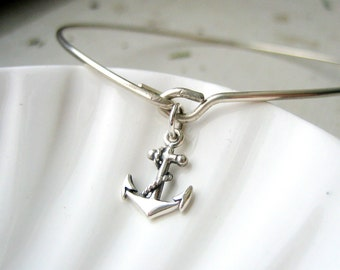 Anchor Bangle Bracelet  - Sterling Silver Bangle - Stacking Bracelet