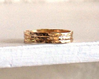 Stacking Band Ring, 1 14K Yellow Gold Filled Over Knuckle Ring, Narrow Hammered Shiny Bands, Sterling Silver, Rose Gold, Made to Order