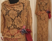 SALE was 175.00 Vintage 1930's Gorgeous Peach Lace  Dress with Cutouts