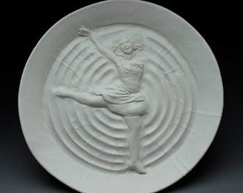 Dancer Bas Relief Sculpture Platter Wall Art Figure Plate Modern Dance