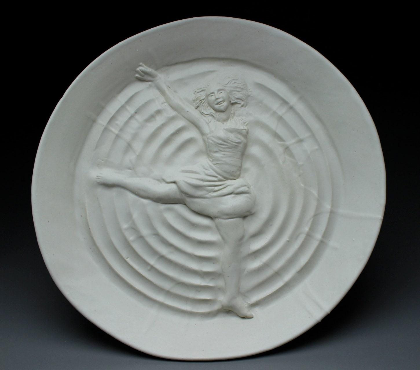 Dancer Bas Relief Sculpture Platter Wall Art Figure By AdrienArt