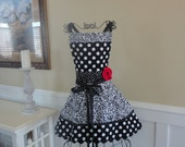 Crush on You ~ Annabelle Style ~ Black Swirl Dot Women's Full Apron ~ 4RetroSisters