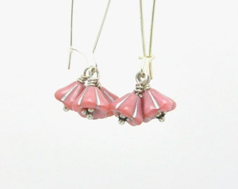 Bead Cluster Earrings Pink Blooms Honeysuckle Cluster Dangle Earrings