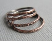 Skinny Stacking Rings Hammered Copper Set of Four Custom Size