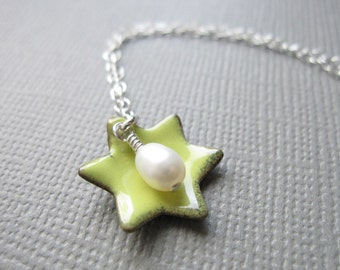 Citron Yellow Enamel Jewish Star of David Necklace White Pearl Sterling Silver