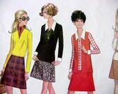 McCall's 2073 Vintage 1969 Jacket, Blouse, Skirt Pattern - Career Dressing 60's Style Sz 14