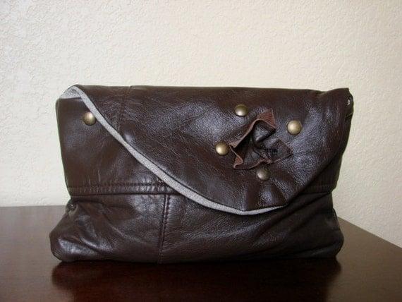 Retro Brown Repurposed Leather Clutch