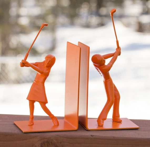 Orange Golfer Bookends, upcycled, Home decor, Sport decor