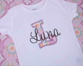 Personalized Baby Girl Shirt - Baby Girl Lavender Outfit - Initial Applique Shirt - Hospital or Birth Announcement