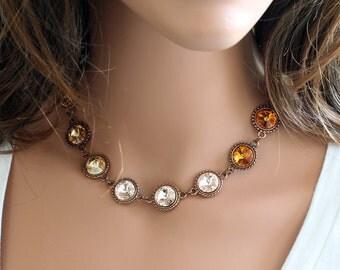 Swarovski Rivoli Necklace, Antique Copper Chain Necklace, Rivoli Crystals Necklace, Made to Order, Custom Order