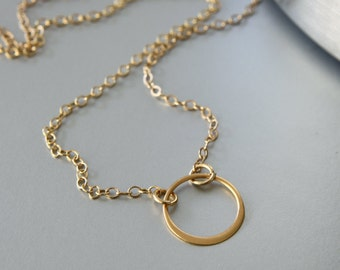 Circle Necklace - Simple Necklace - Gold Filled Circle - Gold Circle Necklace - Everyday Jewelry - Dainty Necklace - Casual Necklace