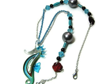 Glass and Pearl Seahorse Pendant Necklace, Glass Seahorse Pendant Necklace