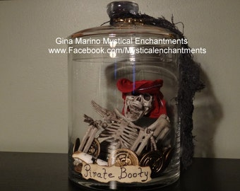 SALE Pirate Booty Skeleton Jar -Apothecary jar of Skeleton Bones & Booty Arghhhh