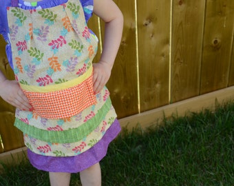 SALE  Kids Apron - Bright layers