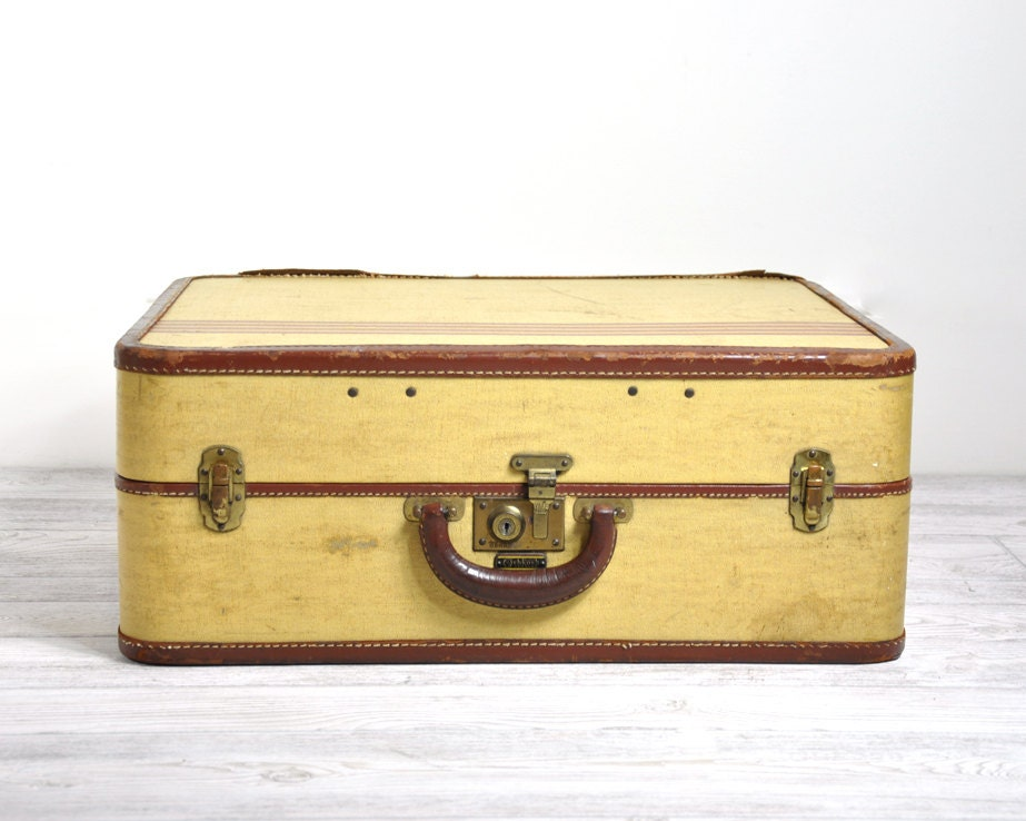 Vintage 1940 S Leather Suitcase Leather Luggage By