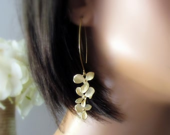 Orchid Earrings, Gold Flower Earrings, Modern Marquis Drop Style, Elegant Garden Flower Bridesmaid Earrings