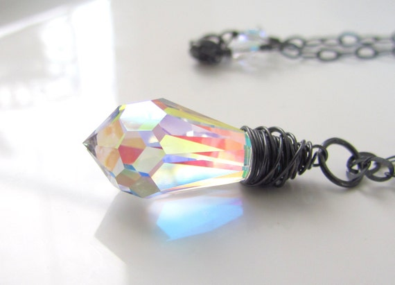 Crystal Teardrop Necklace, Swarovski Crystal, Light Catching Pendant, Oxidized Sterling Silver, Wire Wrapped