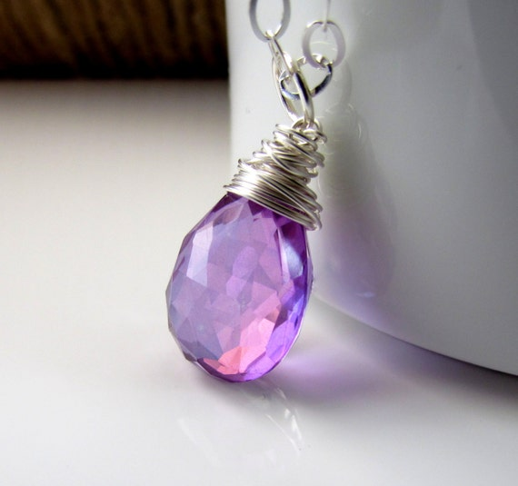 Light Purple Marble : Items similar to lavender stone necklace light purple