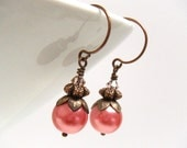 Bright Pink Pearl Antique Copper Dangle Earrings, Vintage Style Earrings, Valentine's Day Gift For Her - English Berry