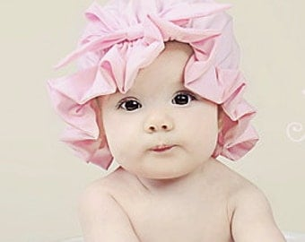 Pink muffin top Bonnet, bath Cap, photo prop sizes NB to 5T