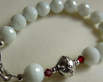 White Crystal with Red Accents and Bali Bead Bracelet - on sale