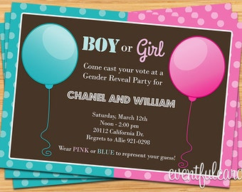 Pink Blue Balloon Gender Reveal Party Invtiation