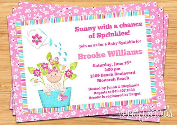 sprinkle shower invitation for a girl, Baby shower invitations