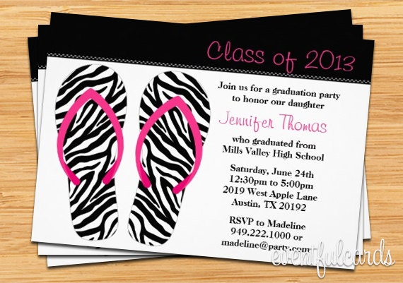 Flip Flops Class of 2016 High School/College Graduation Card - Print at Home or E-card