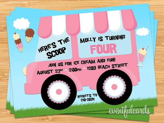 Ice Cream Truck Birthday Party Invitation by EventfulCards – Ice Cream Birthday Party Invitations