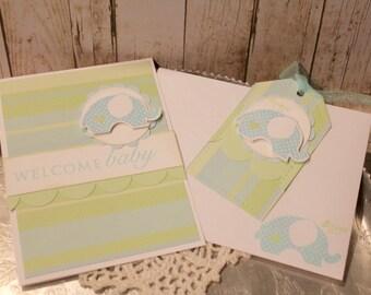Baby Boy Card and Tag Set Handmade Gift Set