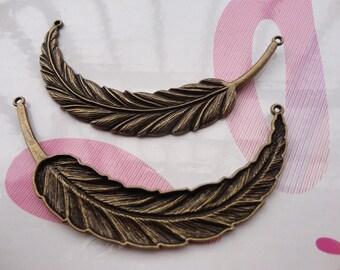 5pcs antique bronze feather findings 90x17mm