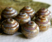 Czech Picasso Beads, Czech Glass Beads, Snail Beads, Opaque Glass & Grey and Brown Speckled Picasso, Bronze Lustered  10mm (12pcs)