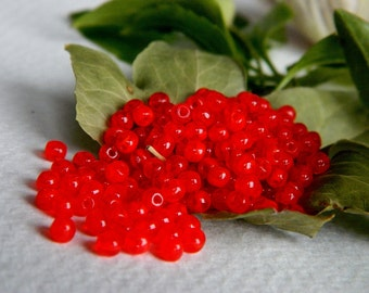 Czech Glass Druk Beads Small 3mm Vibrant Opal Red (100pcs)