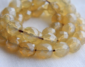 Czech glass beads, fire polished faceted round beads, 8mm  Opal Champagne & Shimmering luster (25pcs)